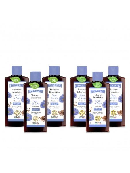Pack 3 Shampoo e 3 Balsami Semi di Lino